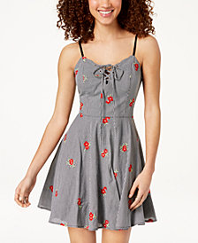City Studios Juniors' Embroidered Gingham Fit & Flare Dress