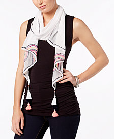 I.N.C. Embroidered Tassel Scarf, Created for Macy's
