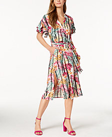 Nine West Printed Ruffled Shirtdress