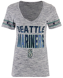 5th & Ocean Women's Seattle Mariners Space Dye Sleeve T-Shirt