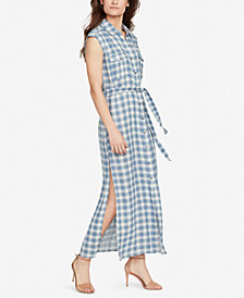 WILLIAM RAST Plaid Sleeveless Shirtdress