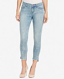 WILLIAM RAST Mid Rise Frayed Step-Hem Skinny Jeans