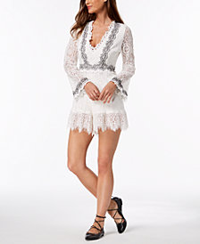 foxiedox Bell-Sleeve Embroidered Lace Romper