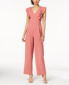 Ivanka Trump Ruffled V-Neck Jumpsuit