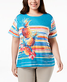 Alfred Dunner Plus Size Pineapple Graphic T-Shirt