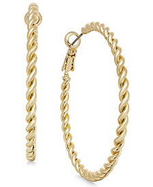 Charter Club Gold-Tone Rope-Look Hoop Earrings, Created for Macy's