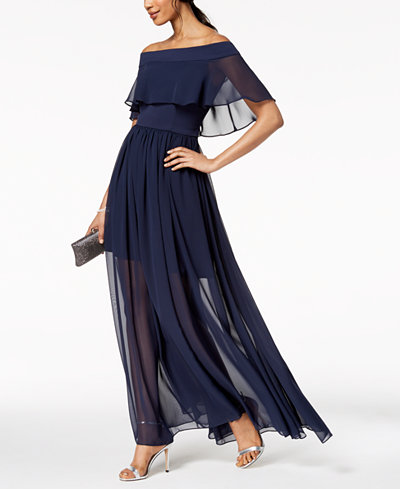 Betsy & Adam Off-The-Shoulder Chiffon Ruffle Gown