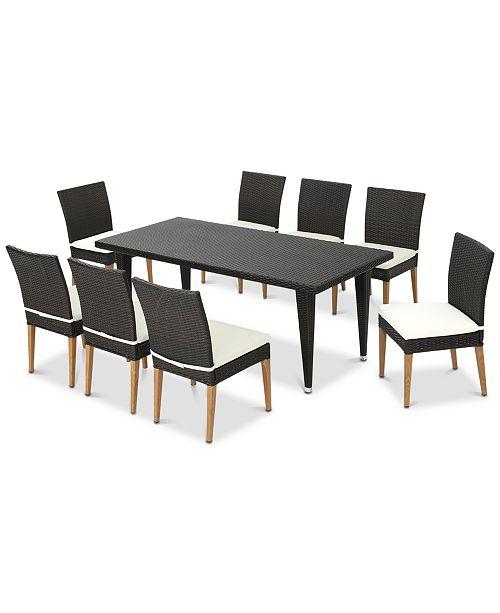 Furniture Skylar 9-Pc. Outdoor Dining Set, Quick Ship
