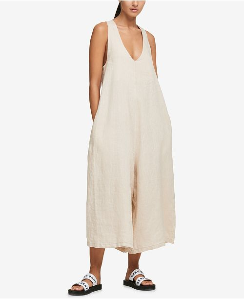 DKNY Linen Twist-Back Jumpsuit, Created for Macy's