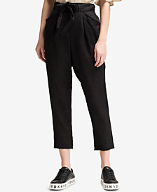 DKNY Linen Tie-Waist Cropped Linen Pants, Created for Macy's