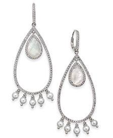 Danori Mother-of-Pearl, Swarovski Imitation Pearl & Pavé Teardrop Drop Earrings, Created for Macy's