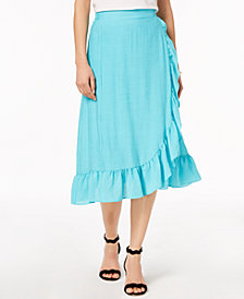 NY Collection Petite Wrap Ruffled Skirt