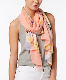 Calvin Klein Abstract Floral Scarf & Cover-Up in One