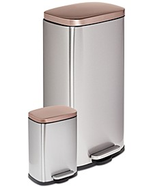 Rectangular 2-Pc. Soft-Close Trash Can Set