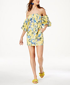 J.O.A. Strapless Floral-Print Dress