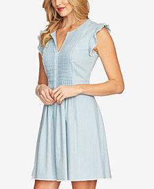 CeCe Cotton Flutter-Sleeve Fit & Flare Dress