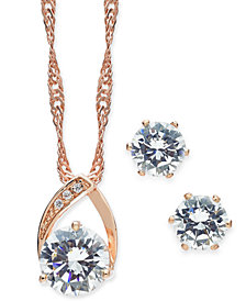 Charter Club Rose Gold-Tone 2 Pc. Set Crystal Teardrop Pendant Necklace and Stud Earrings, Created for Macy's