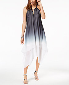 I.N.C. Tie-Dyed Handkerchief-Hem Dress, Created for Macy's
