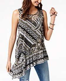I.N.C. Printed Asymmetrical Top, Created for Macy's