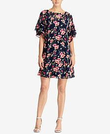 Lauren Ralph Lauren Floral-Print Flutter-Sleeve Dress