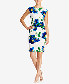 Lauren Ralph Lauren Petite Floral-Print Cap-Sleeve Dress