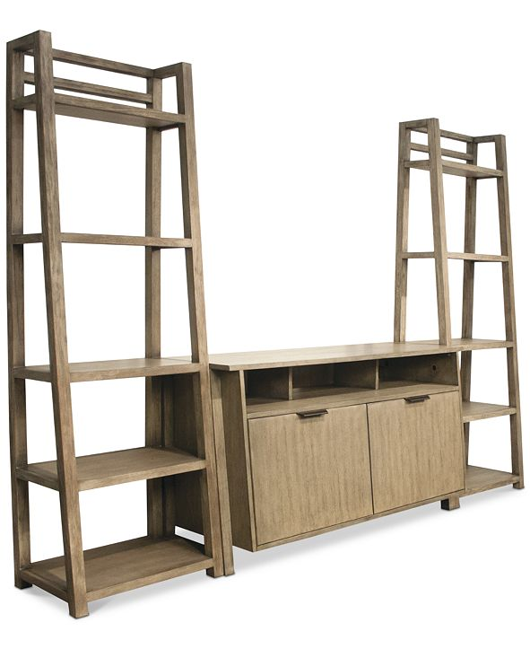 Furniture Ridgeway 3-Pc. Entertainment Wall Set (Console & 2 Leaning Bookcases)