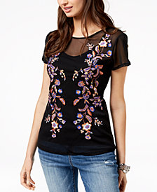 I.N.C. Embroidered Mesh Top, Created for Macy's