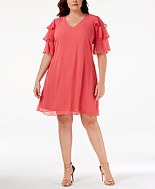 Calvin Klein Plus Size Ruffled-Sleeve Dress