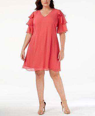 Calvin Klein Plus Size Ruffled Sleeve Dress Dresses Women Macy S