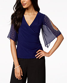 MSK Petite Embellished Cold-Shoulder Surplice Top