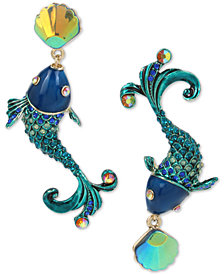 Betsey Johnson Crystal Fish Mismatch Earrings