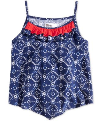 Little Girls Printed Ruffle-Trim Tank Top, Created for Macy's