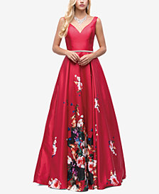 Dancing Queen Juniors' Embellished Printed Gown