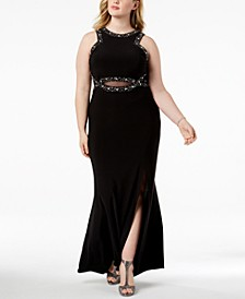 Trendy Plus Size Embellished Sheer-Inset Gown