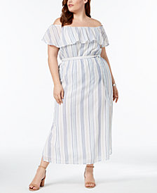 Style & Co Plus Cotton Striped Off-The-Shoulder Dress, Created for Macy's