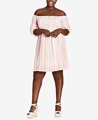 City Chic Trendy Plus Size Off-The-Shoulder Dress