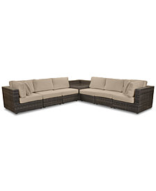 Viewport Outdoor 7-Pc. Modular Seating Set (2 Corner Units, 4 Armless Units and 1 Corner Table), with Custom Sunbrella® Cushions, Created for Macy's