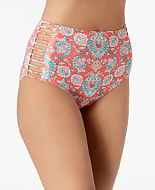 Coco Reef Printed Strappy High-Waist Bikini Bottoms