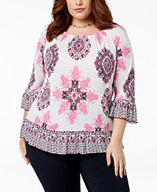 I.N.C. Plus Size Ruffled Peasant Top, Created for Macy's