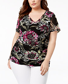 I.N.C. Plus Size Printed Sheer-Back Top, Created for Macy's