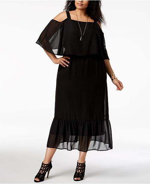 NY Collection Plus & Petite Plus Size Cold-Shoulder Maxi ...