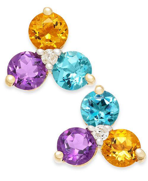 Macy's Multi-Gemstone (1-5/8 ct. t.w.) & Diamond Accent Stud Earrings in 14k Gold