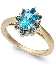 Blue Topaz (1-1/4 ct. t.w.) & Diamond Accent Ring in 14k Gold