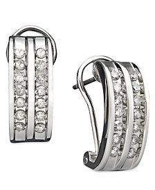Two-Row Diamond Channel-Set Hoop Earrings in 14k White or Yellow Gold (3/8 ct. t.w.)