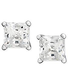 Princess-Cut Diamond Stud Earrings in 14k White Gold