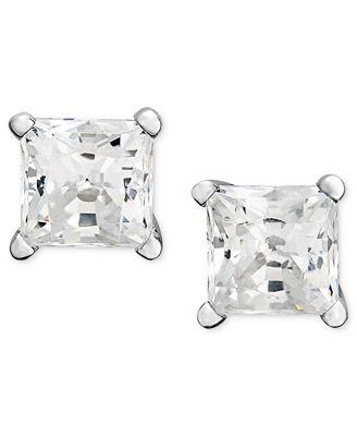 Macy S Princess Cut Diamond Stud Earrings In 14k White Gold