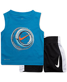 Nike Little Boys 2-Pc. Soccer-Print Muscle Tank & Shorts Set