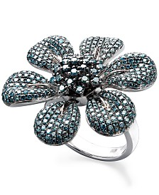 Blue Diamond Pave Flower Ring in Sterling Silver (2-5/8 ct. t.w.)