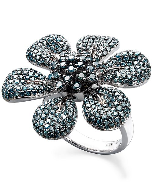 EFFY Collection Blue Diamond Pave Flower Ring in Sterling Silver (2-5/8 ct. t.w.)