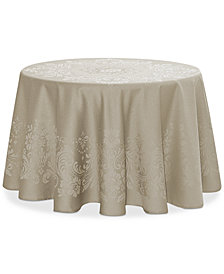 "Waterford Celeste Taupe 90"" Round Tablecloth"